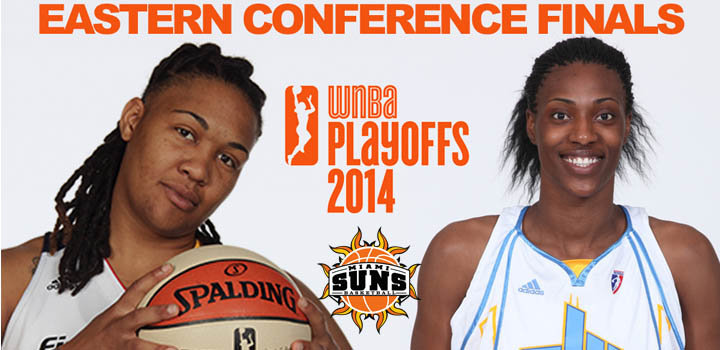 Former Miami Suns Sylvia Fowles and Erlana Larkins in WNBA East Finals