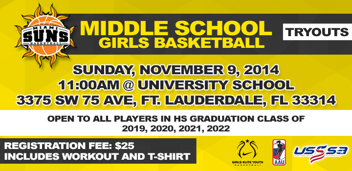 Middle School Tryouts Set for November 9, 2014 at University School